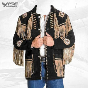 Men's Western Coat Cowboy Suede Leather Jacket with Fringes Black - Wiseleather