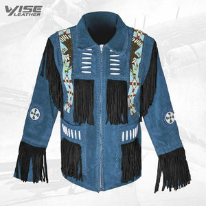 Men's Western Coat Cowboy Suede leather jacket with Fringes Blue - Wiseleather