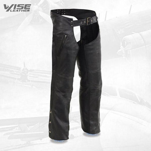 Men's Cool-Tec Black Leather Chaps with Zippered Thigh Pockets
