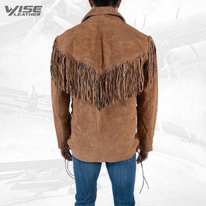 Men Exclusive Fringes Shirt Xoxo Pure Suede Leather - Wiseleather