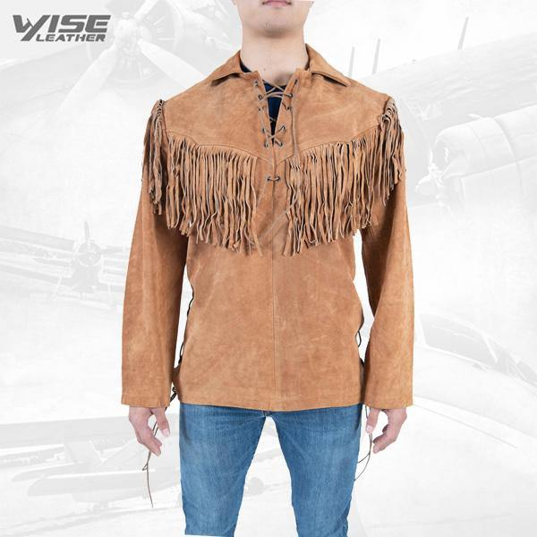 Men Exclusive Fringes Shirt Xoxo Pure Suede Leather