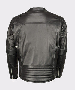 MEN'S ARMORED TRIPLE VENT LEATHER JACKET STRETCH SIDE - Wiseleather