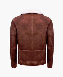 MENS BROWN CREAM FLYING LEATHER JACKET WITH FUR - Wiseleather