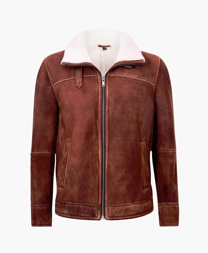 MENS BROWN CREAM FLYING LEATHER JACKET WITH FUR