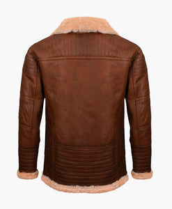 MENS BROWN NAPPA LEATHER JACKET WITH FUR