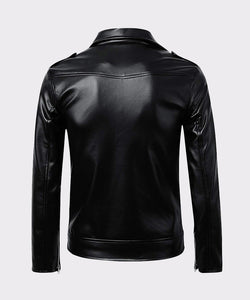 MENS CLASSIC POLICE STYLE REAL LEATHER MOTORCYCLE JACKET - Wiseleather