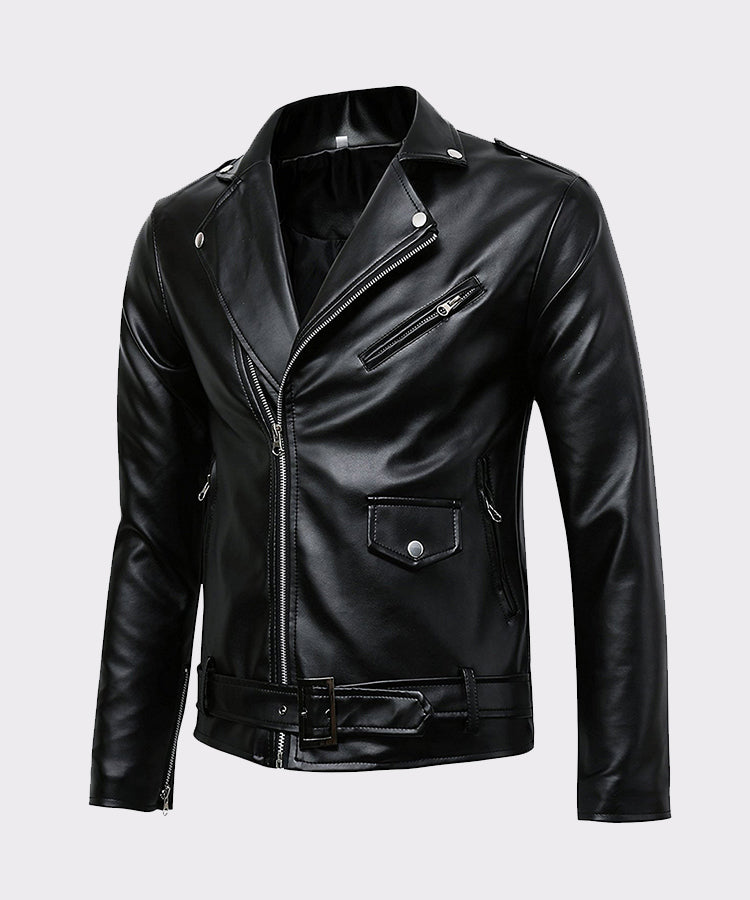MENS CLASSIC POLICE STYLE REAL LEATHER MOTORCYCLE JACKET