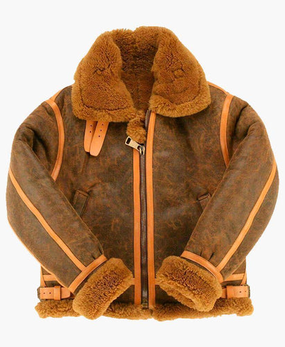 MENS CLASSIC STYLE B3 BOMBER LEATHER JACKET WITH FUR