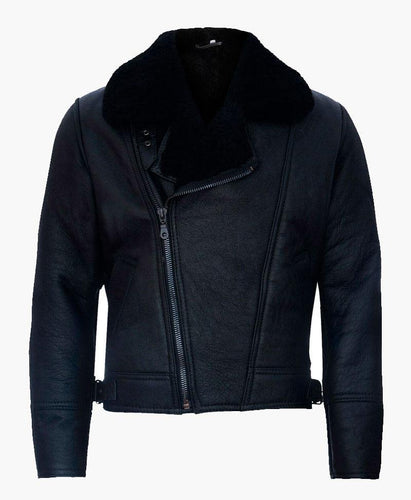 MENS CROSS ZIP BLACK LEATHER JACKET WITH FUR