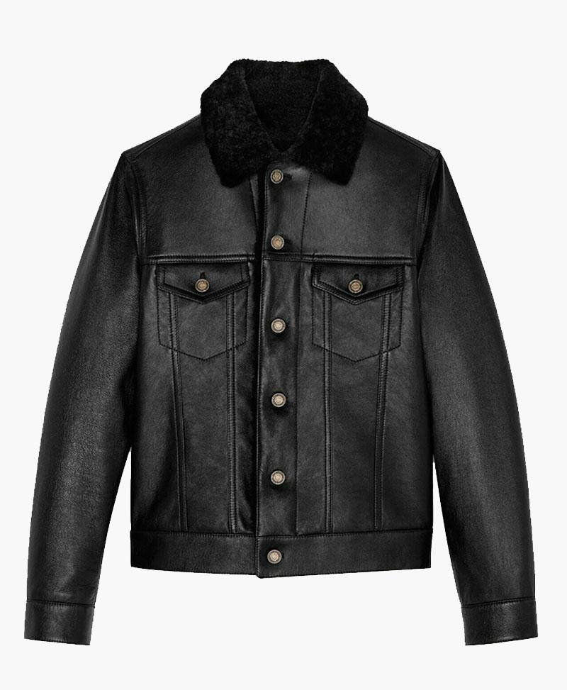 MENS DENIM STYLE GENUINE LEATHER JACKET WITH FUR
