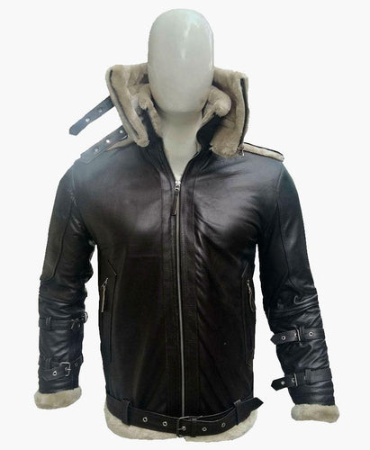 MENS DOUBLE COLLAR LEATHER JACKET WITH FUR