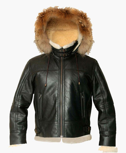 MENS HOODED FLIGHT BOMBER LEATHER JACKET WITH FUR