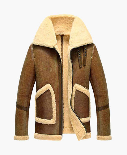 MENS FLIGHT SHORT LEATHER JACKET WITH FUR