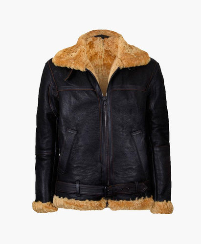 MENS FLYING BROWN VINTAGE REAL LEATHER JACKET WITH FUR