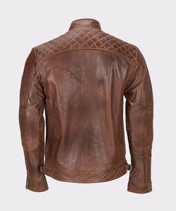 MENS FRANCO DISTRESSED BROWN GENUINE LAMBSKIN LEATHER JACKET - Wiseleather