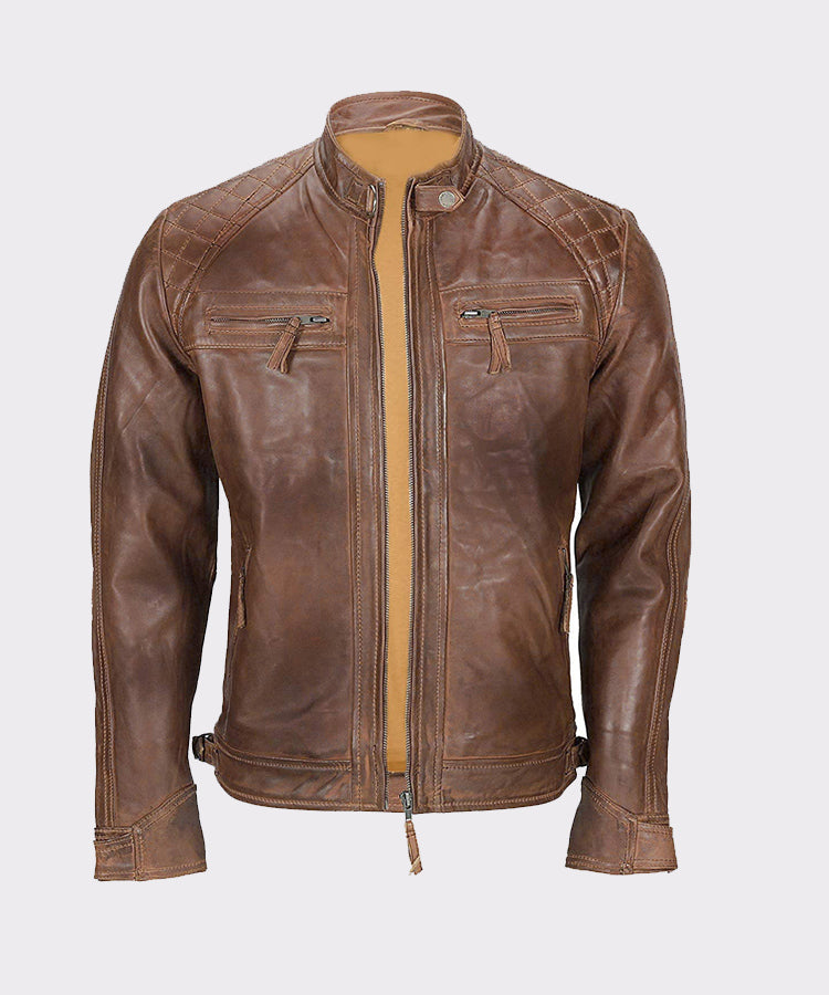 MENS FRANCO DISTRESSED BROWN GENUINE LAMBSKIN LEATHER JACKET