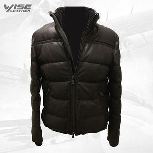 Men's Puffer Body Warmer Leather Waistcoat Sleeveless Casual Jacket - Wiseleather