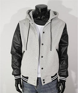 MEN'S HOODIE FAUX LEATHER COTTON BASEBALL VARSITY JACKET GRAY - Wiseleather