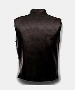 MENS LEATHER CLUB STYLE VEST, CONCEALED GUN POCKETS - Wiseleather