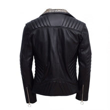 Men's Magnificent Padded Leather Jacket With Black Silver Gold Contrast Studs