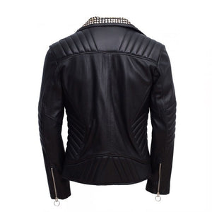 Men's Magnificent Padded Leather Jacket With Black Silver Gold Contrast Studs - Wiseleather
