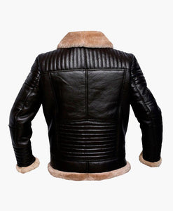 MENS RAF BROWN BOMBER LEATHER JACKET WITH FUR - Wiseleather