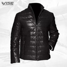 Men's Leather Packable Down Filled Puffer Jacket