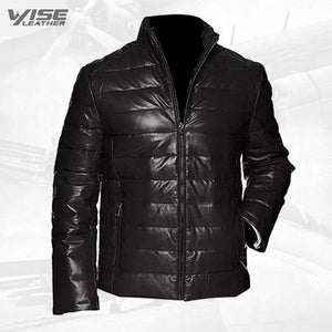 Men's Leather Packable Down Filled Puffer Jacket - Wiseleather