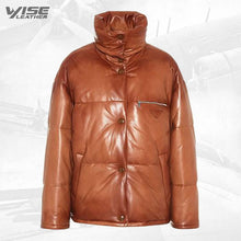 Mens Real Brown Leather Puffer Jacket