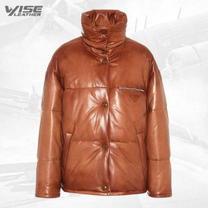 Mens Real Brown Leather Puffer Jacket - Wiseleather