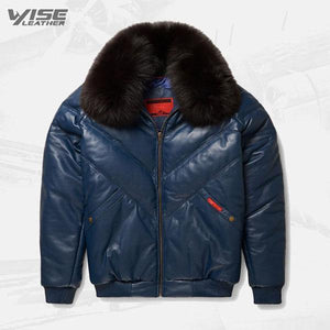 Mens V-Bomber Navy Leather Jacket - Wiseleather