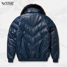 Mens V-Bomber Navy Leather Jacket