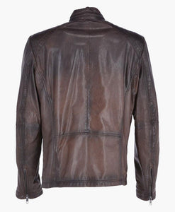 MEN'S VINTAGE BIKER LEATHER JACKET DARK BROWN - Wiseleather
