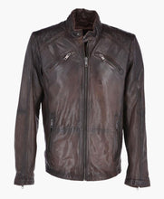 MEN'S VINTAGE BIKER LEATHER JACKET DARK BROWN