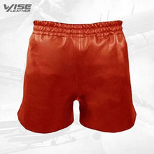 Mens Athletes Real Sheepskin Red Leather Short