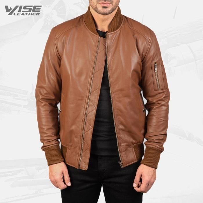 Mens Aviator Bomia Ma-1 Brown Leather Bomber Jacket