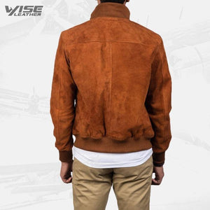 Mens Aviator Brown Suede Bomber Jacket - Wiseleather