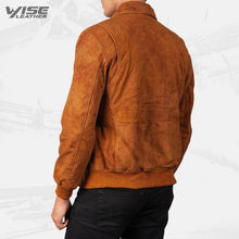 Mens Aviator Brown Suede Leather Bomber Jacket