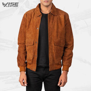 Mens Aviator Brown Suede Leather Bomber Jacket - Wiseleather