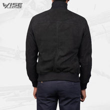 Mens Aviator Eaton Black Suede Bomber Jacket