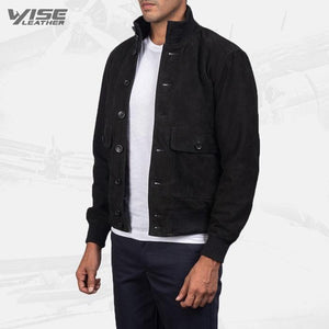 Mens Aviator Eaton Black Suede Bomber Jacket - Wiseleather