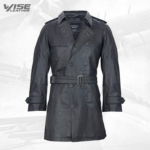 Mens Black German Military WW2 Vintage Long Trench Coat Genuine Leather Jacket