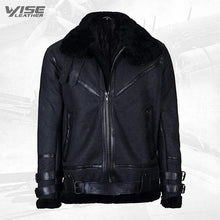 Mens Black Vintage Pilot B3 Sheepskin Flying Leather Jacket