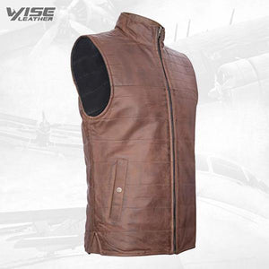 Mens Brown Reversible Leather Puffer Body Warmer Padded Waistcoat Gilet - Wiseleather