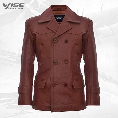 Mens Cow Hide Leather Jacket Dr Who Naval German Pea Coat Tan
