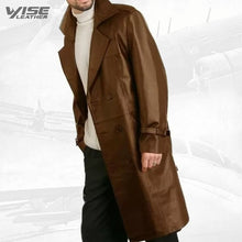 Mens Elegant style Real Sheepskin Brown Long Leather Trench Coat