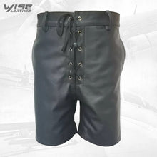 Mens Front Lace Up Real Sheepskin Black Leather Shorts