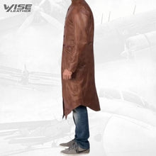 Mens Genuine Sheepskin Vintage Brown Leather Long Trench Coat