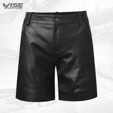 Mens High Quality Real Sheepskin Black Leather Bermuda Shorts