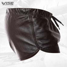Mens Hot Real Sheepskin Dark Brown Leather Shorts